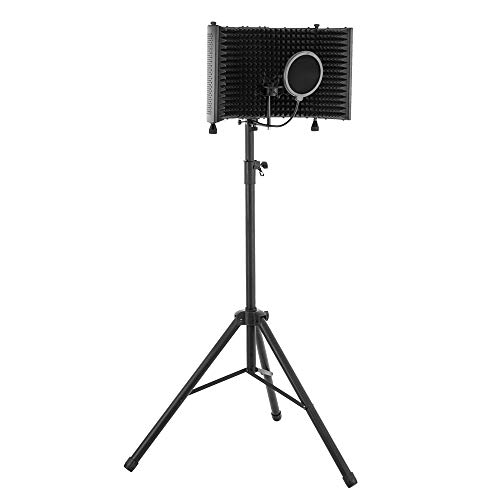 ShowMaven Recording Studio Microphone Isolation Shield with Heavy Duty Tripod stand, Pop Filter and Shock Mount