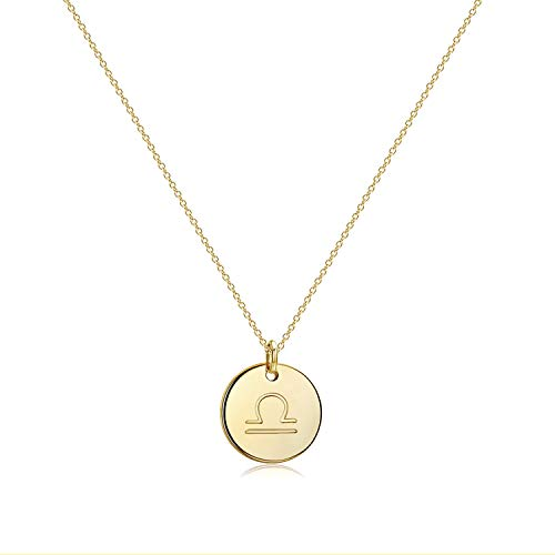 Befettly Constellation Necklace Pendant 14K Gold-Plated Hammered Round Disc Engraved Zodiac Sign Pendant 17.5'' Adjustable Dainty Necklace NK-Libra