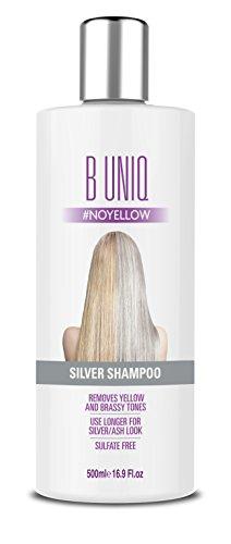 B Uniq - Champú matizador con pigmentos violetas para conseguir tonos plateados - Adiós al amarillo: revitaliza el cabello rubio teñido, decolorado y con mechas - Sin sulfatos - 500ml