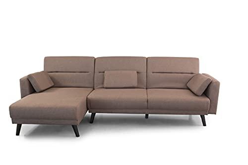 SWEET SOFA®- Sofá Cama Clic Clac Luca, Sofá Chaiselongue 3 plazas Convertible en Cama Doble, Tapizado (Marrón)