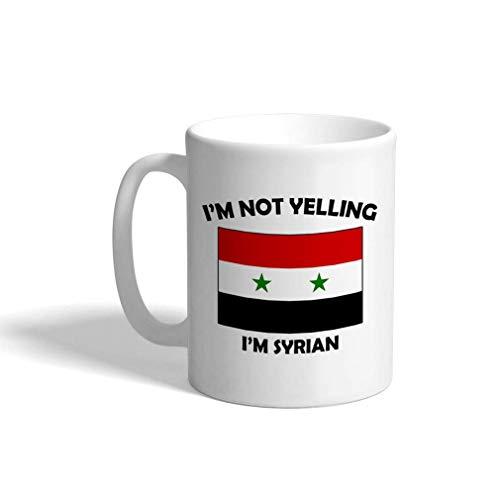 Lustige Kaffeetasse Kaffeetasse Ich schreie nicht Ich bin Syrisch Syrien Weiße Keramik Teetasse 11 OZ Design Nur