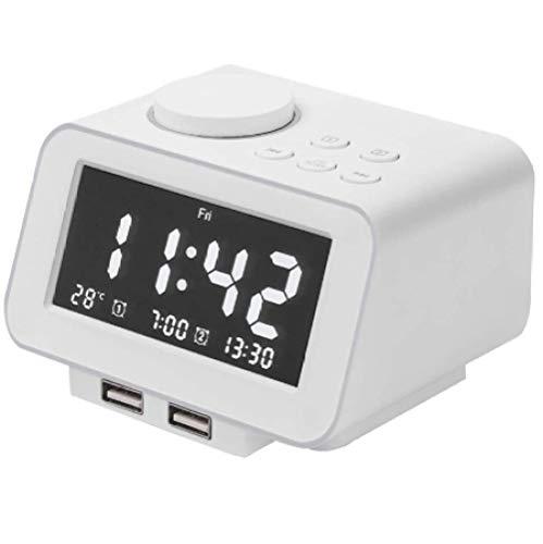 Genericgeneric wekker, radio-FM-radio, twee USB-poorten voor het laden, temperatuurweergave, twee wekkers, 5-traps helderheidsdimmer, instelbaar