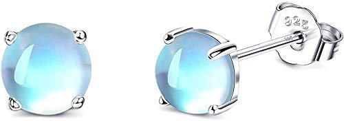 CASSIECA Pendientes de PiedraLunar de Plata de ley 925 Pendientes Redondos de Piedra Lunar Arcoíris Pendientes Pequeños para Mujeres Pendientes Antialérgicos Regalo para Niña Caja de Joyería Embalaje