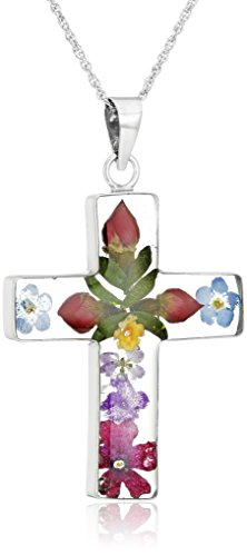 Sterling Silver Pressed Flower Multi-Colored Cross Pendant Necklace, 18