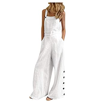 WUAI-Women Floral Printed Jumpsuits Casual Sleeveless Spaghetti Strap Rompers Baggy Bibs Overalls Wide Leg Pants Plus Size White,3X-Large
