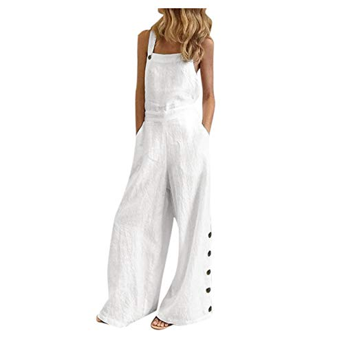 WUAI-Women Floral Printed Jumpsuits Casual Sleeveless Spaghetti Strap Rompers Baggy Bibs Overalls Wide Leg Pants Plus Size(White,3X-Large)