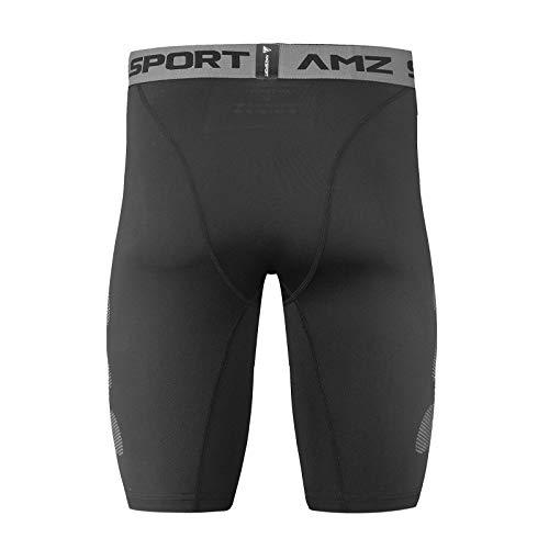 AMZSPORT Herren Kompressionsshorts Sport Shorts Kurze Hose Schnell Trocknend Funktionsunterwäsche, Schwarz S - 3
