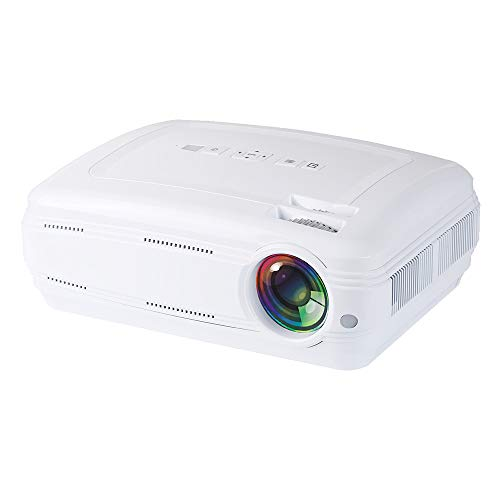 Smart Wi-Fi 200 inch projector, Android Bluetooth draagbare 3200 lumen home theater met ± 15 ° Keystone-correctie voor film sportgames spel compatibel met vuur TV laptop Xbox PS4 Iphone wit