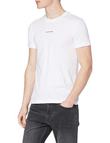Calvin Klein Jeans Herren Micro Branding Essential SS Tee T-Shirt, Bright White, M