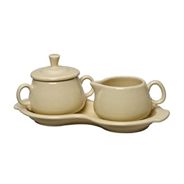 Fiesta Covered Creamer and Sugar Set with Tray, Ivory