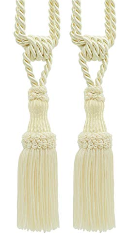 DÉCOPRO Pair of Premium Ivory Decorative Chainette Tiebacks, 5 inch Tassel Length, 30 inch Spread (Embrace), Color: Ecru - A2
