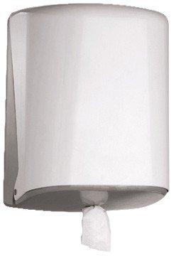 Blanc HYGIENIC Wisch- und Putzpapierspender Azur Midi Box, für Innenabrollung, Kapazität: Ø max. 205 mm je Rolle - Weiß mit Längenregulator