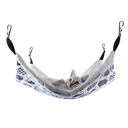 Caudblor Hängematte Käfig für Katzen Kleintiere Katzenhängematte Hängendes Bett Hängebett Haustiere für Katzen, Frettchen, Ratte, Kaninchen, Kleine Hunde (Blau Katze, 37x47)