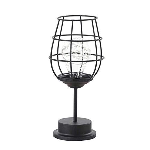 Speaklaus Lámpara de mesa retro geométrica de alambre de cobre, lámpara de hierro, lámpara de arte industrial, bombillas LED para mesita de noche
