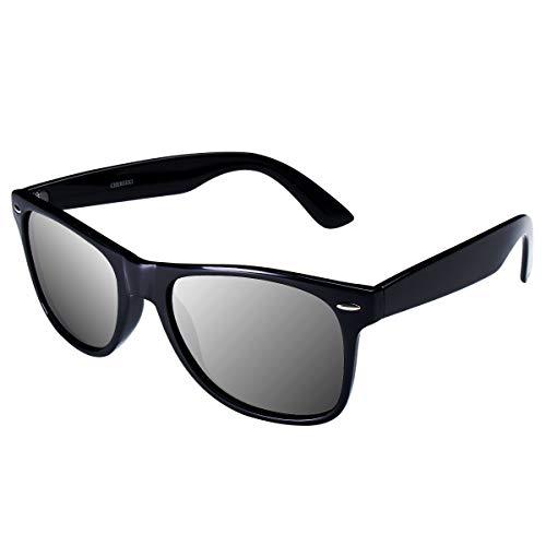 CHEREEKI Polarisierte Sonnenbrille Klassisch Retro UV400 Schutz Brille für Herren Damen (Silber)