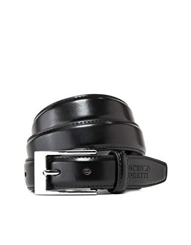 Vincenzo Boretti Herren-Gürtel mit silberfarbener Dornschließe, glänzendes Leder, schmal 30 mm Breite schwarz 95 cm