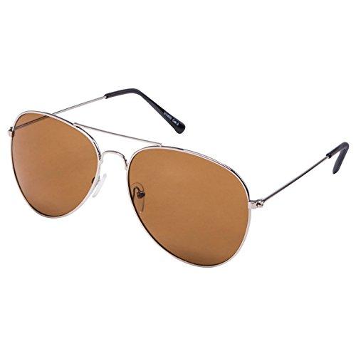 Ciffre EL-Sunprotect® Pilotenbrille Fliegerbrille Sonnenbrille Brille Top Design Silber Braune Glässer