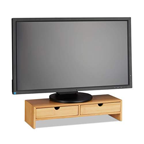 Relaxdays Monitorständer aus Bambus, PC Erhöhung mit 2 Schubladen, für Schreibtisch & Büro, HBT 11,5 x 47 x 18 cm, Natur