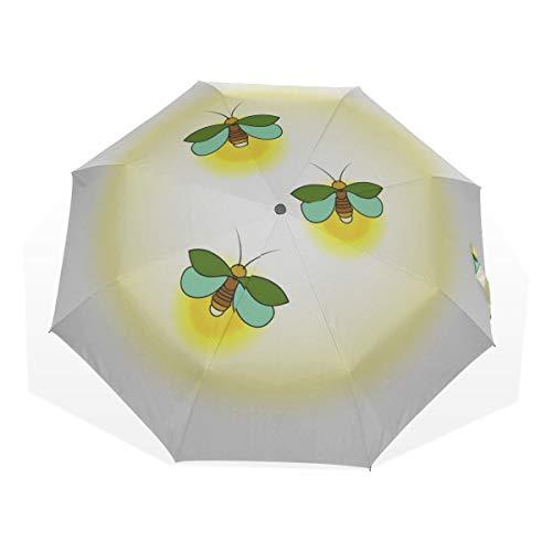 Mädchen Regenschirme für Regen Firefly Insect Flying Light 3-Fach Kunst Regenschirme (außerhalb Druck Reiseschirm Robuste Mode Reiseschirm Tragbarer Regenschirm