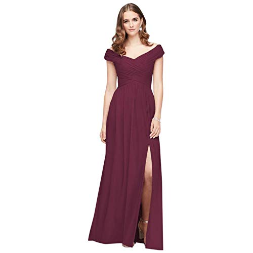 David's Bridal Crisscross Off-The-Shoulder Mesh Bridesmaid Dress Style F19951, Wine, 10