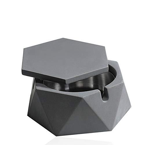 Posacenere in ceramica con coperchio, sigarette in marmo per esterni, decorazione per la casa (grigio)