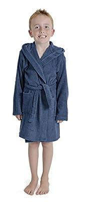 Aumsaa Boys children Dressing Gown Hooded Towelling Bathrobe 100% Cotton Terry Towel Bath Robe Soft Lounge Wear 7-13 Years