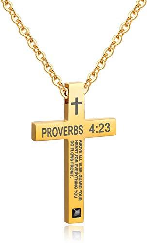 NC110 Biblia Cruz Colgante religión Hombres y Mujeres Pareja Estudiantes Collar de Acero de Titanio Colgante Oro Mujeres-Hombres_Gold