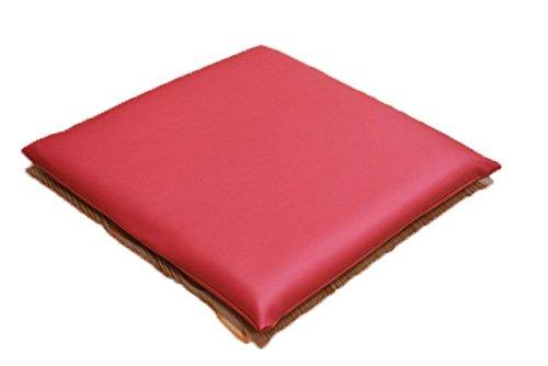PVCレザークッション 3層ウレタン 小座布団 45×45cm 耐久性 水に強い 日本製 飲食店 業務用  (レッド)