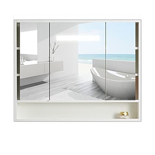 Badrumsspegelskåp, väggmonterad förvaringsskåp, köksskåp med spegel, skåpdörr kan vikas (Color : White, Size : 90 * 14 * 80cm)