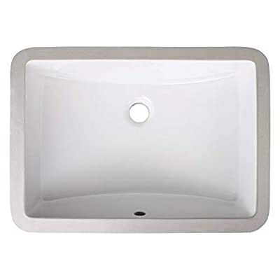 Enbol ECU1812 Modern Rectangular Undermount White Porcelain Ceramic Lavatory Bathroom Sink, Vanity Sink with Overflow
