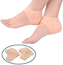 FreShine Silicone Gel Heel Pad Socks for Pain Relief for Men and Women (Beige, Free Size) - 1 Pair