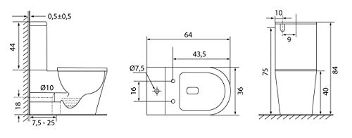 Pack WC de Inodoro Square compacto adosado a la pared con salida dual y sistema rimless