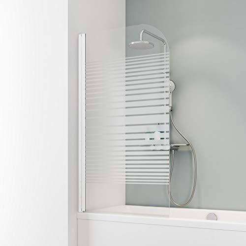 Schulte EP1650 Duschwand Komfort, 80 x 140 cm, 5 mm Sicherheitsglas Querstreifen, alpinweiß, Duschabtrennung für Badewanne