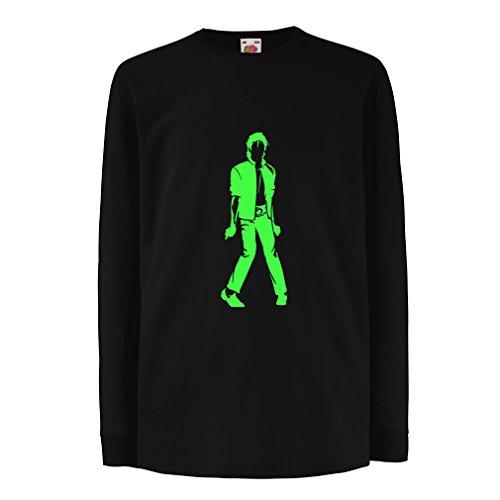 lepni.me Camiseta para Niño/Niña Me Encanta M J - Rey del Pop, 80s, 90s Músicamente Camisa, Ropa de Fiesta (9-11 Years Negro Verde)