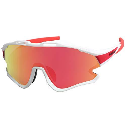GIEADUN Gafas Ciclismo Polarizadas con 3 Lentes Intercambiables UV 400 Gafas, Corriendo, Moto MTB Bicicleta Montaña, Camping y Actividades al Aire Libre para Hombres y Mujeres TR- 90 (Blanco)