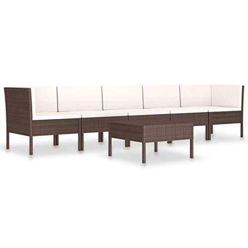 Tidyard Set Muebles de Jardín 6 pzas y Cojines Sofá Modular de Jardín Exterior Terraza Patio Ratán Sintético Marrón
