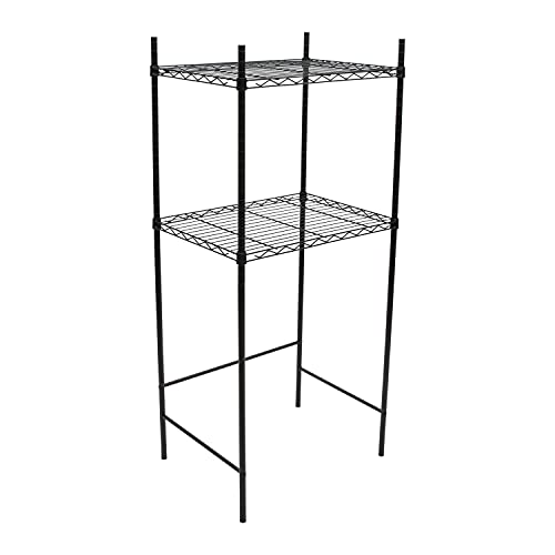 Neu Home, Kitchen Organizer, Perfect for Dorm or Office, Space Saver, in Black Mini Fridge and Microwave Stand, 24 x 17.75 x 53