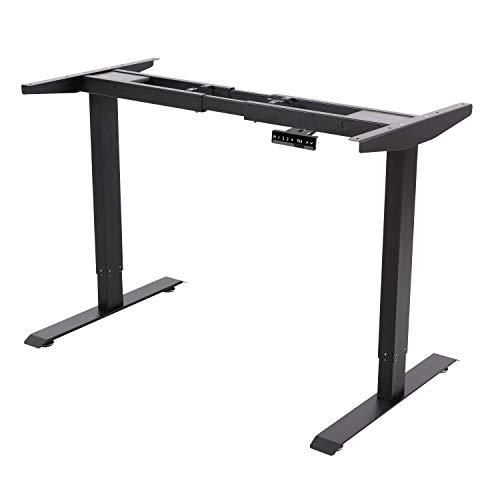 ALLDREI höhenverstellbarer Schreibtisch elektrisch stufenlos höhenverstellbarer Tisch Mit 3 Speicher-Steuerung, 2 Motoren, 2-Fach-Teleskop (Schwarz)