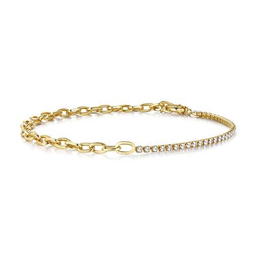 Joeyan Damen Halskette Choker Gold Strass Halsketten Tennis Kette Geschenk