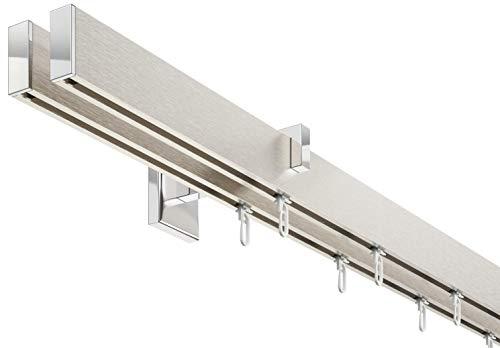 DécoProfi Innenlauf Gardinenstangen Set eckig, 2-läufig, Aluminium silbert eloxiert/verchromt, 320 cm, kurzer Träger