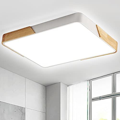 48W LED Deckenleuchte Deckenlampe voll dimmbar mit Fernbedienung rechteckige Lampe für Wohnzimmer Schlafzimmer Büro (Holz & Metall)