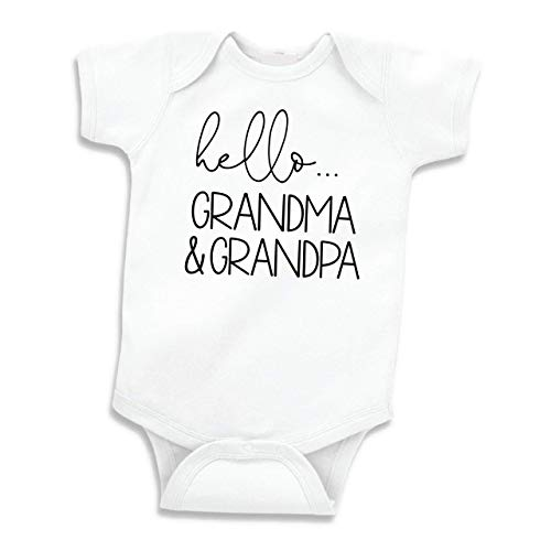 Bump and Beyond Designs Hello Grandma and Grandpa Baby Announcement Gift Grandparents (White 0-3 Months)
