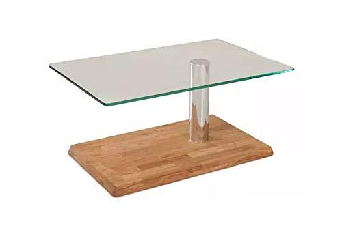 Main Möbel Couchtisch mit Glasplatte 90x43cm 'Allegro' Wildeiche massiv
