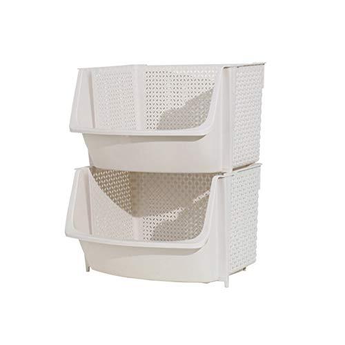 Gelentea Cesta de almacenamiento de cocina multifuncional de plástico con diseño hueco para verduras y frutas, organizador apilable para cocina, baño y gabinete