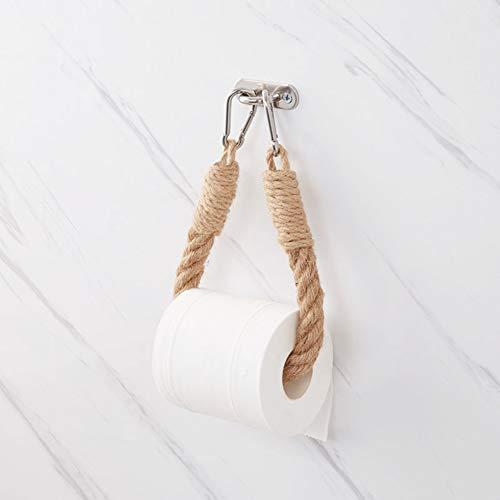 Autoadhesivo Portarrollos para Papel Higiénico Pared, Cuerda De Madera Anillo De Toalla Rack Rústico Portarrollos De Pie Cuarto De Baño-Amarillo