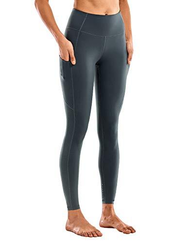 CRZ YOGA Women's Breathable Luxury Naked Feeling High Waisted Yoga Pants with Pockets Athletic Leggings-28 inches Melanite S