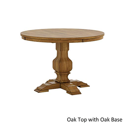 Inspire Q Eleanor Two-Tone Round Solid Wood Top Dining Table by Classic Oak Top with Oak Base Oak Finish 4 Transitional, Farmhouse