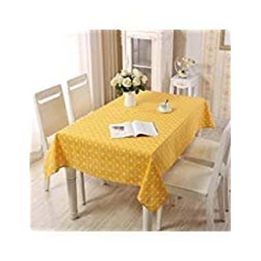 Table Covers, Lemon Hour Rectangle Dining Room Modern Tablecloth with Cotton Linen Lace, Yellow Plaid Style Dust-proof Table Cover for Kitchen Living Party Decorative, 140 x 180 Cm/ 55 x 71 Inch