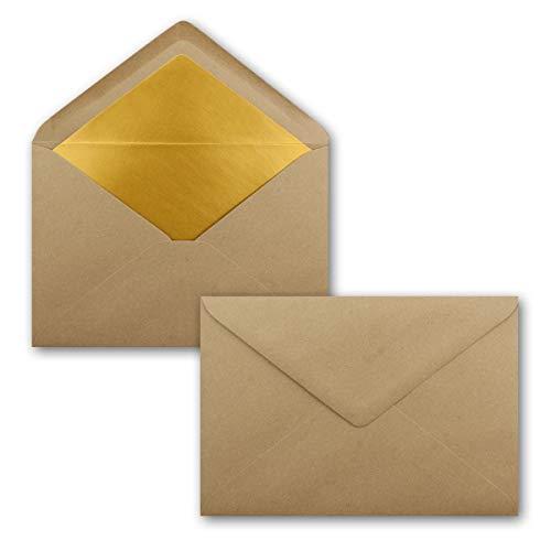 25x DIN C5 Kuverts 15,7 x 22,5 cm aus Kraft-Papier in sandbraun mit goldenem Seidenfutter - Nassklebung - Blanko Brief-Umschläge aus Recycling-Papier - Serie Umwelt