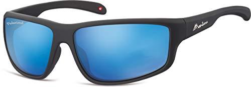 Montana Gafas de sol unisex Kat.3 mate negro/azul (SP313C)
